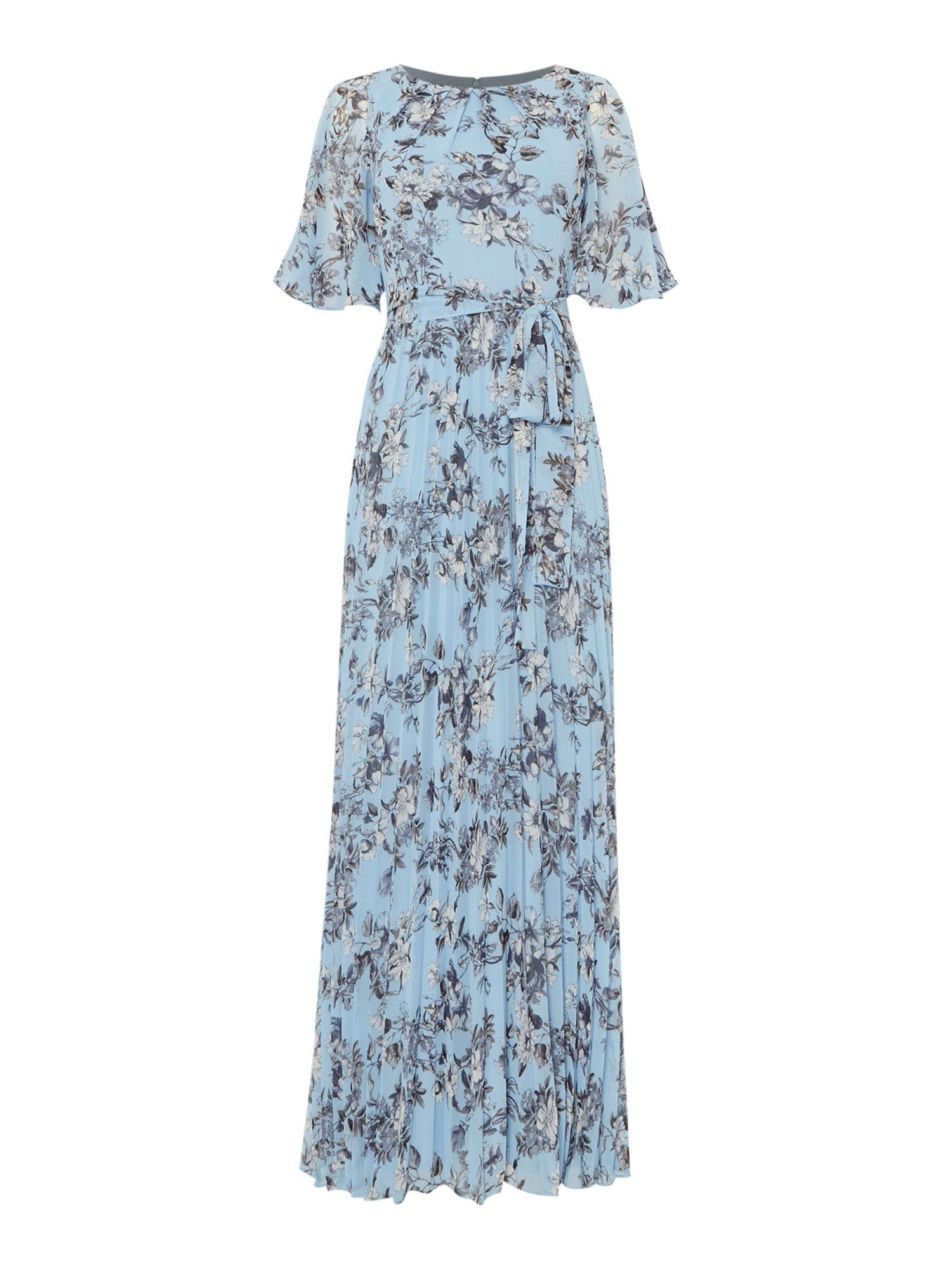 Eliza J Cold shoulder floral pleated maxi dress, Blue Multi