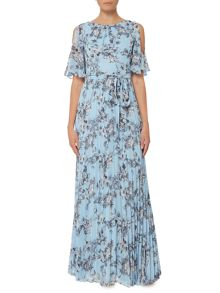 Eliza J Cold shoulder floral pleated maxi dress
