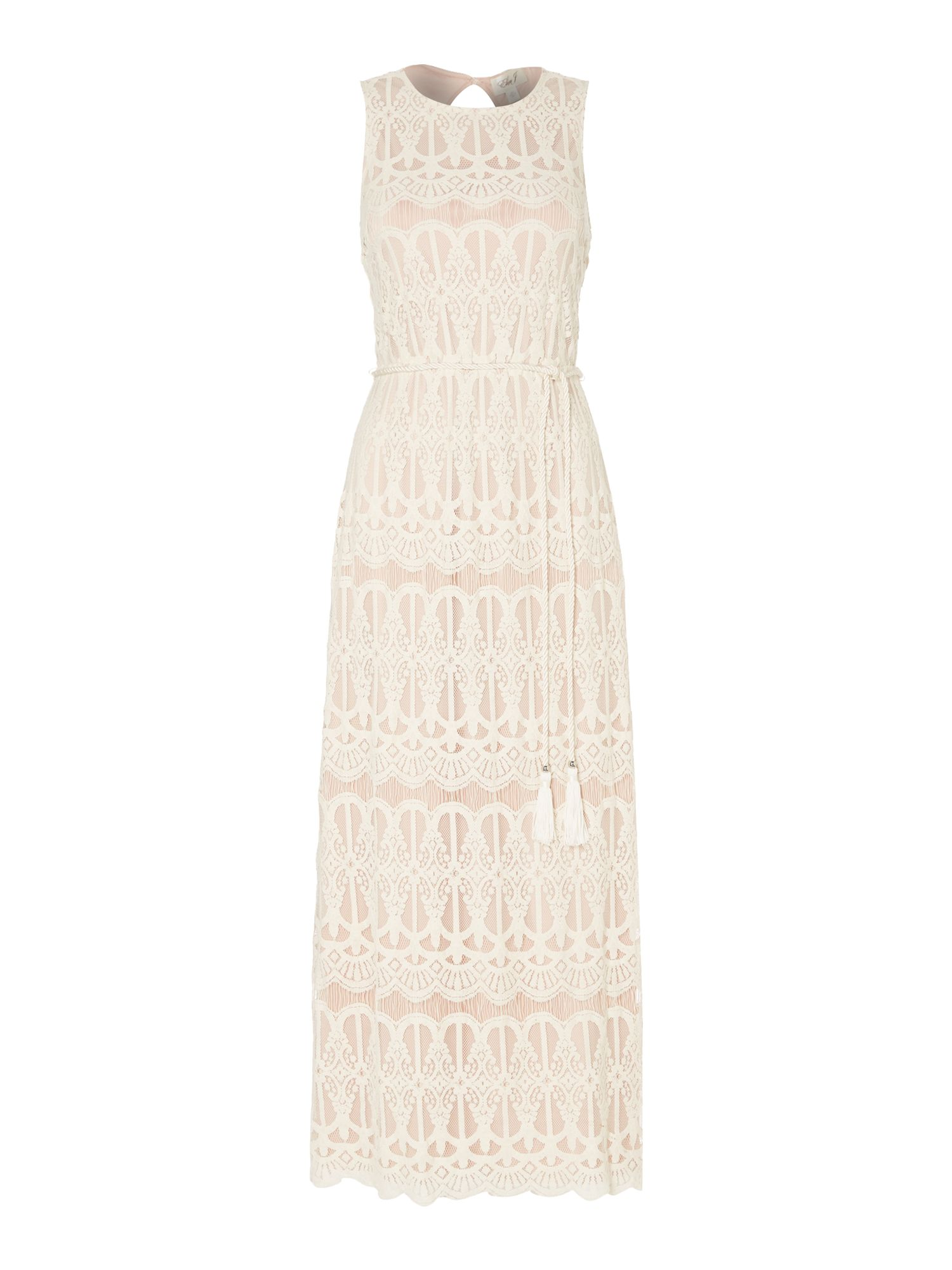 Eliza J Sleeveless lace blouson maxi dress, White
