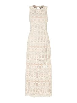 Sleeveless lace blouson maxi dress