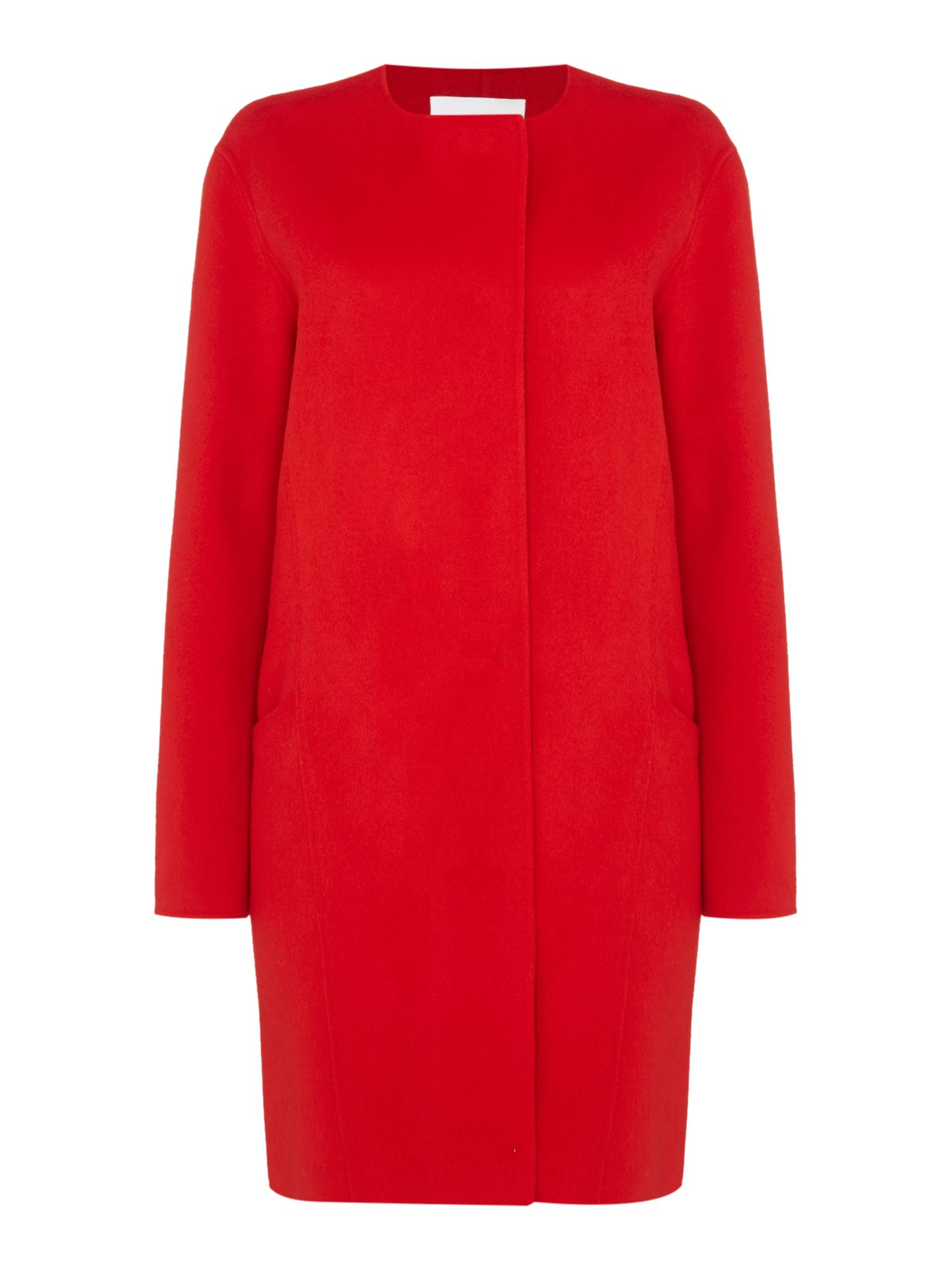Hugo Boss Double faced wool coat with round neck, Red