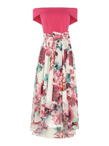 Eliza J Off the shoulder dipped hem floral dress