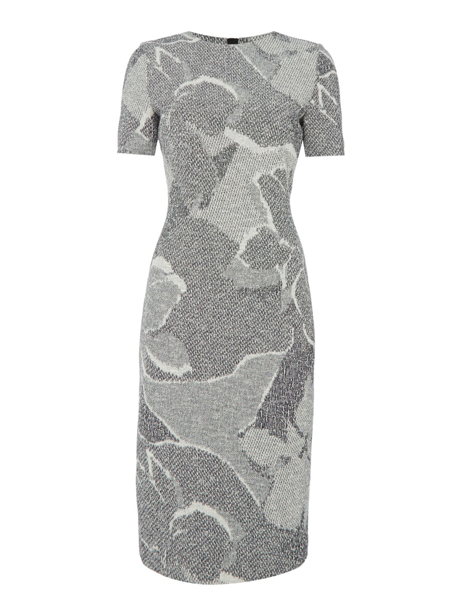 Hugo Boss Floral pattern knitted short sleeve shift dress Grey