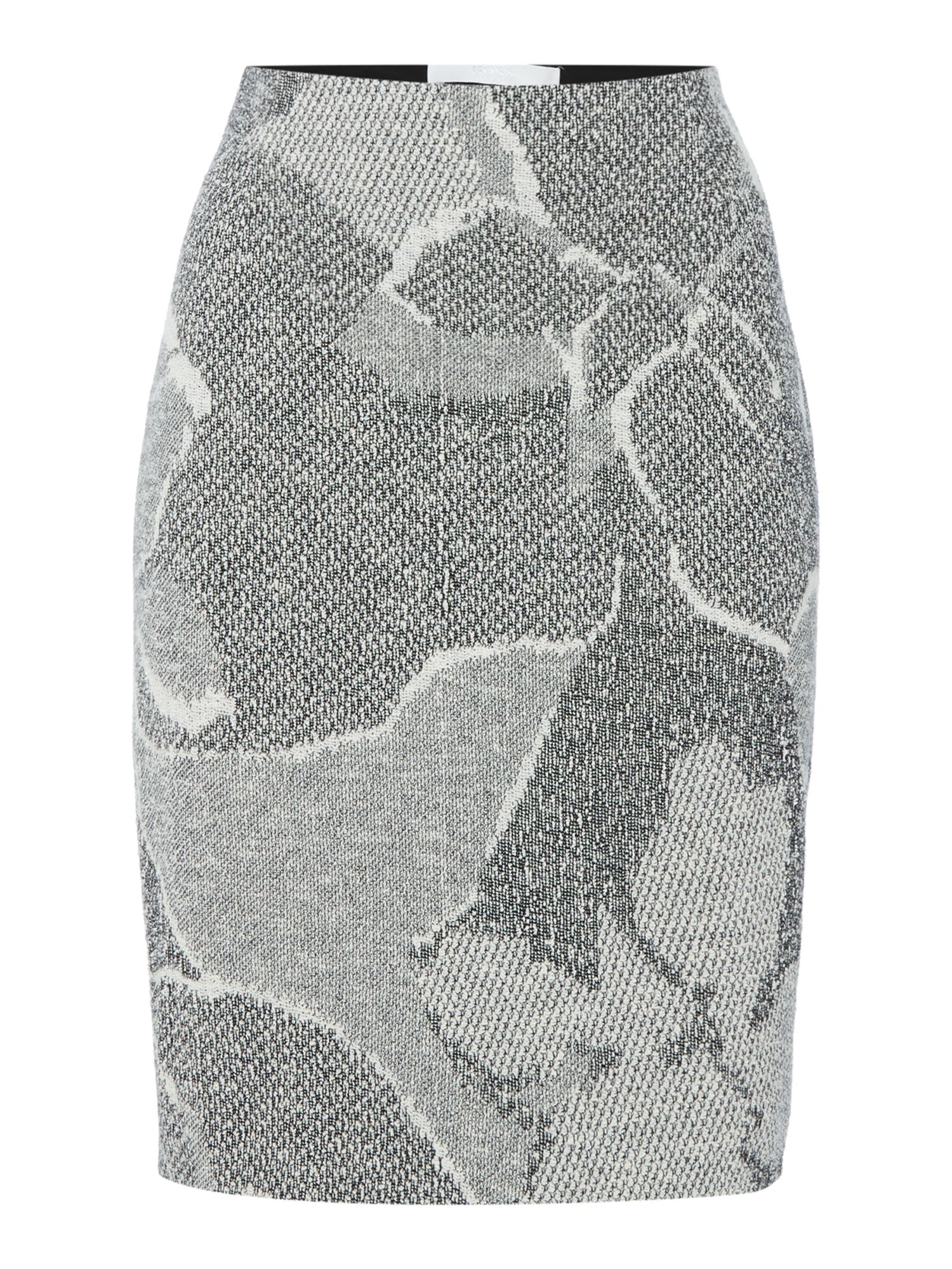 Hugo Boss knitted pencil skirt with floral pattern, Grey