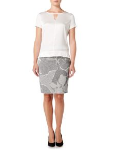 Hugo Boss knitted pencil skirt with floral pattern