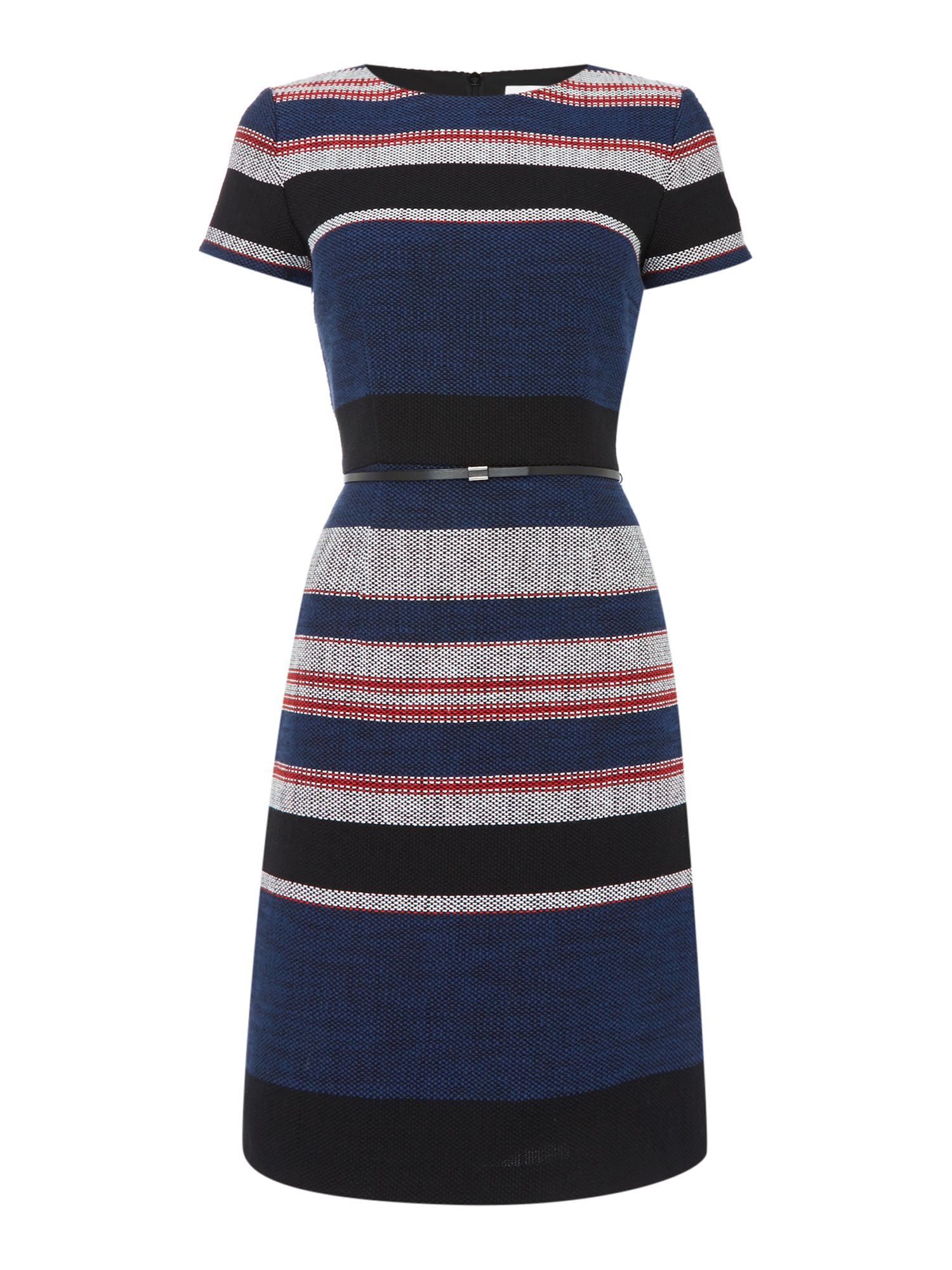 Hugo Boss Shortsleeve textured shift dress with stripe, Blue