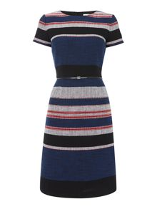Hugo Boss Shortsleeve textured shift dress with stripe