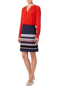 Hugo Boss Textured A line skirt with stripe