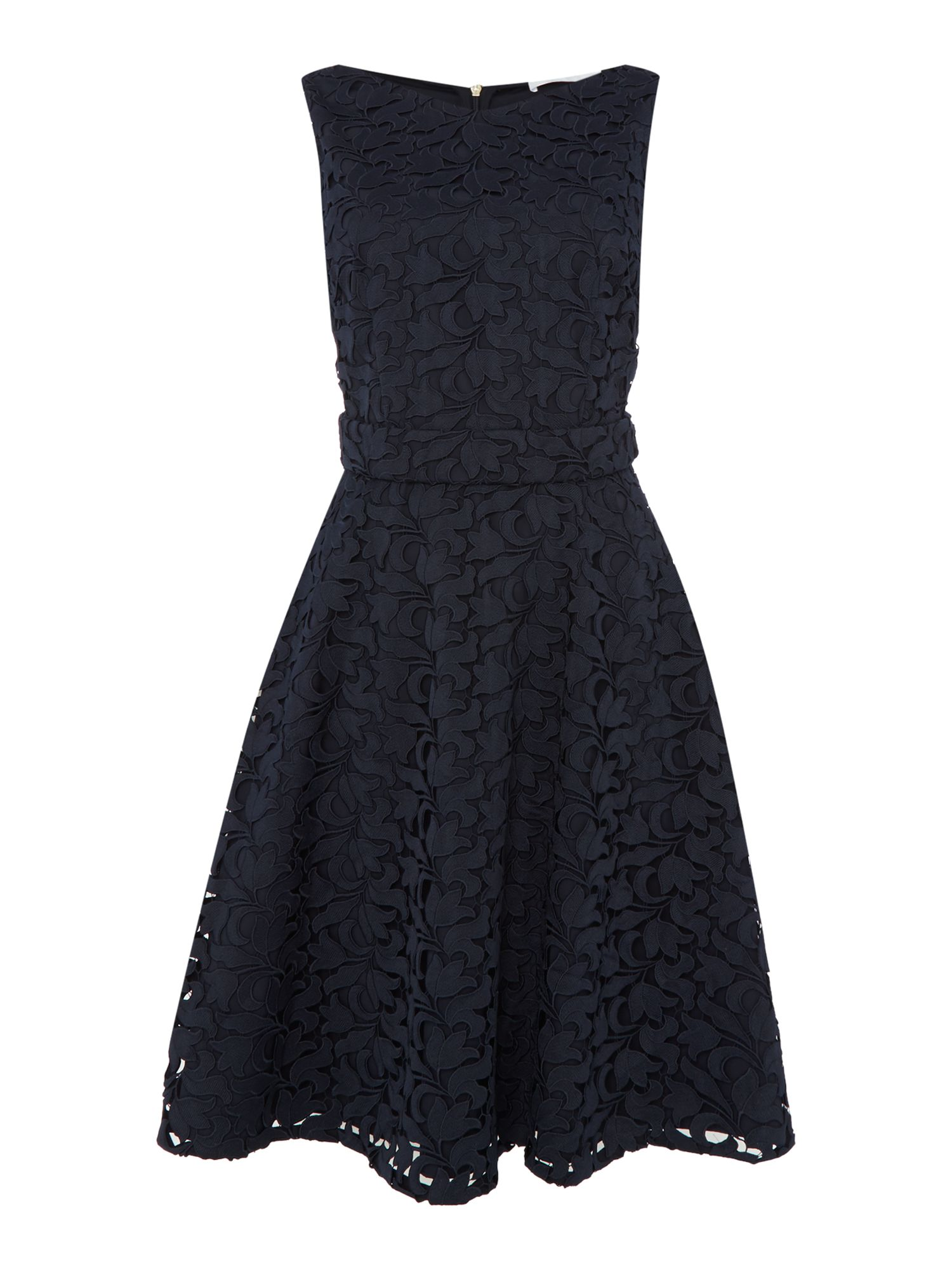Hugo Boss Sleeveless lace fit and flare dress with belt, Blue
