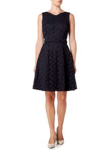 Hugo Boss Sleeveless lace fit and flare dress with belt