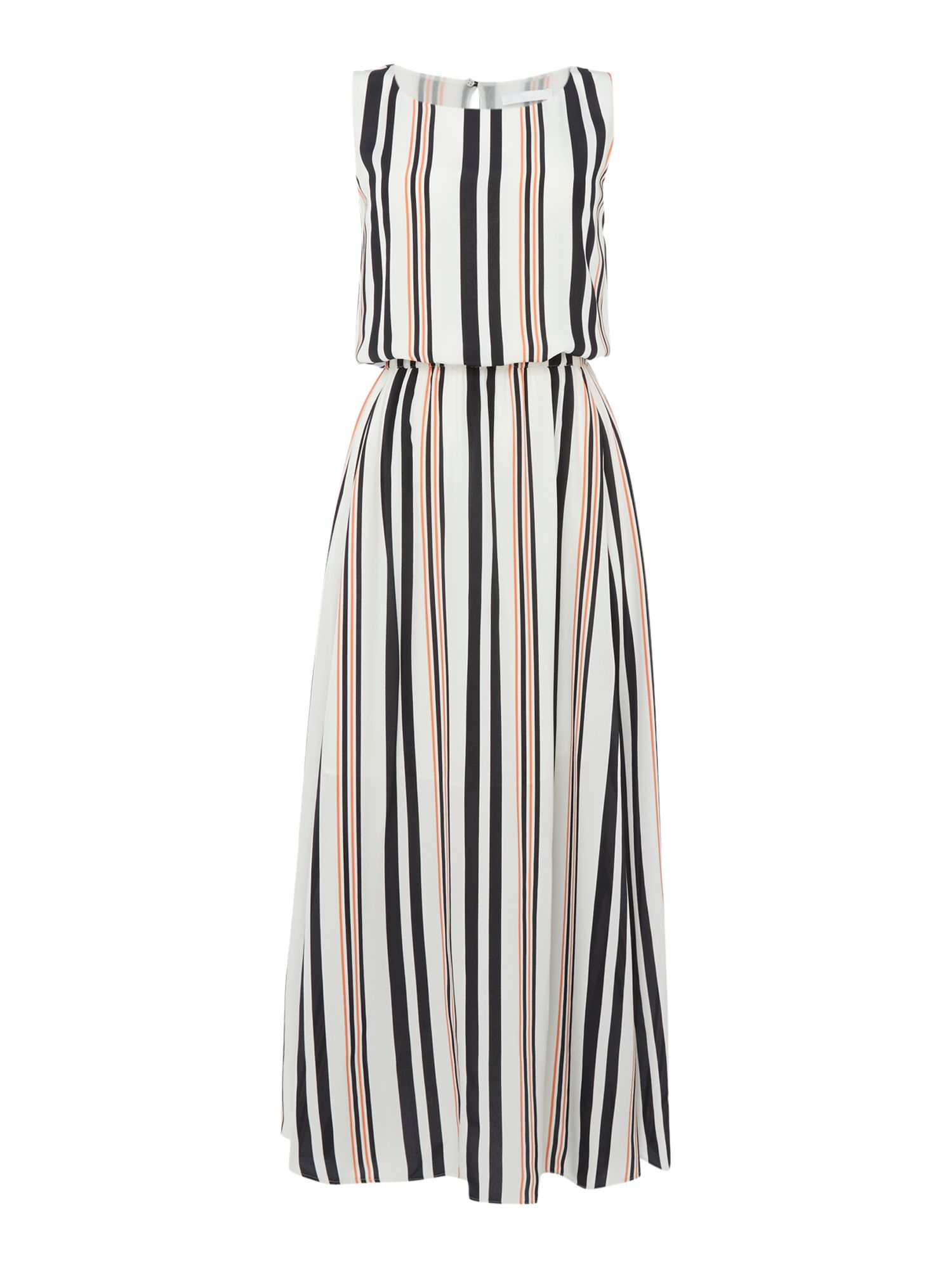 Hugo Boss Sleeveless silk striped maxi dress, White