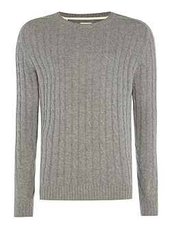 Cable-Knit Crew-Neck Wool Blend Jumper