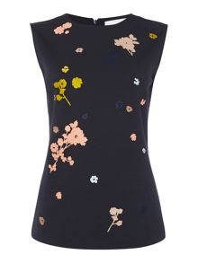 Hugo Boss Sleeveless embroidered top with round neck