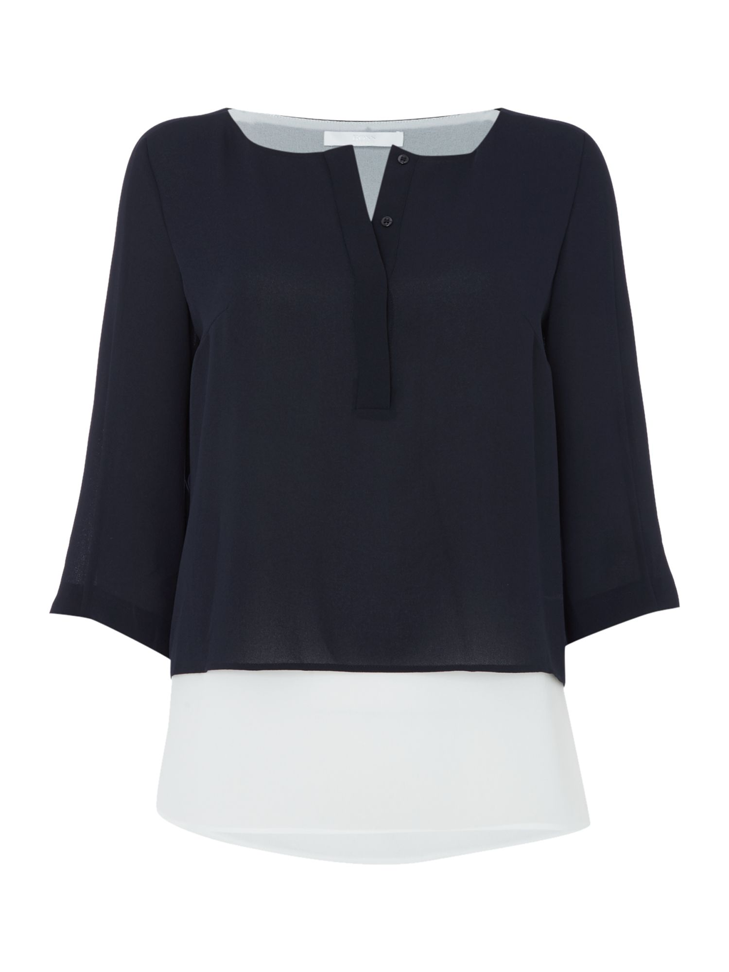 Hugo Boss Double layer long sleeve colour block blouse, Blue