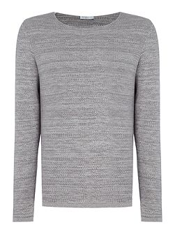 Textured-Knit Crew-Neck Cotton Jumper