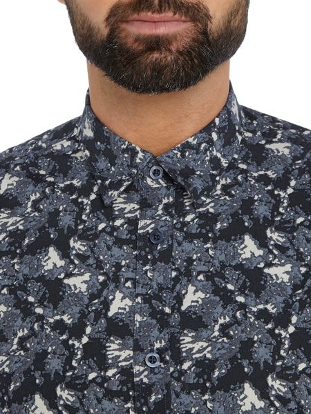 Selected Homme All Over Print Long-Sleeve Cotton Shirt