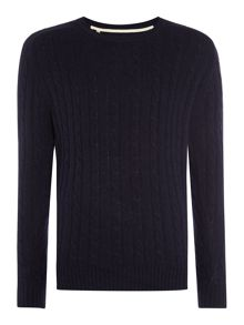 Selected Homme Cable-Knit Crew-Neck Wool Blend Jumper