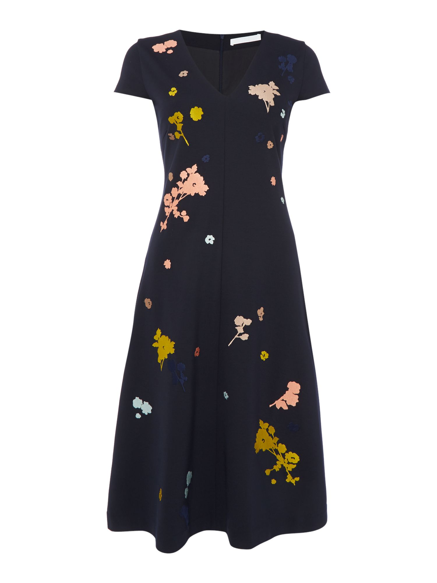 Hugo Boss V neck dress with embroidered flowers, Black