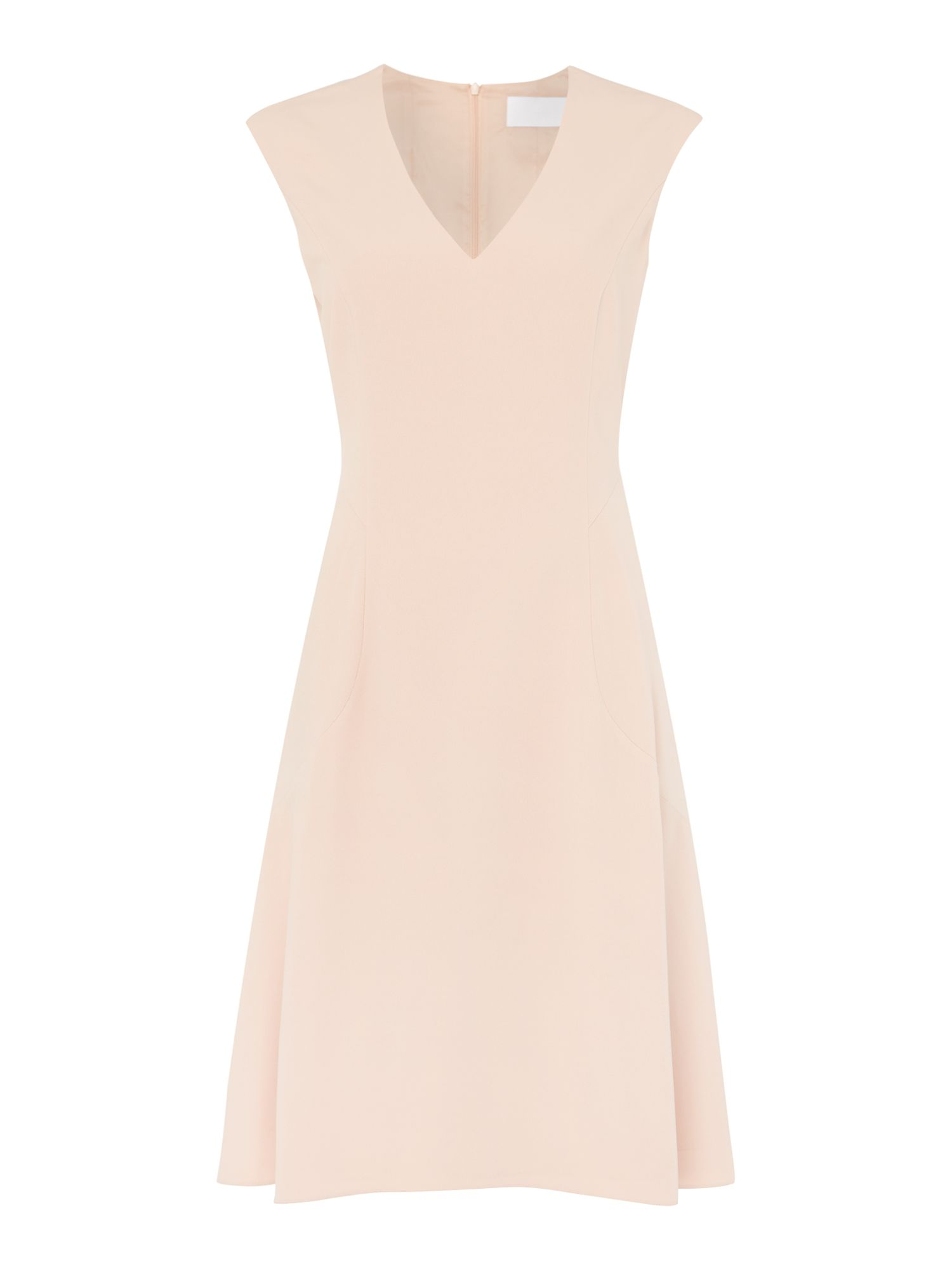 Hugo Boss cap sleeve v neck dress with flared skirt, Pink