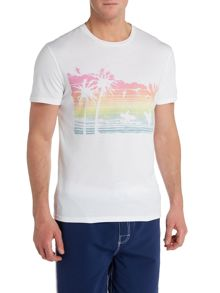 Criminal Tshirt With Ombre Beach Scene Print