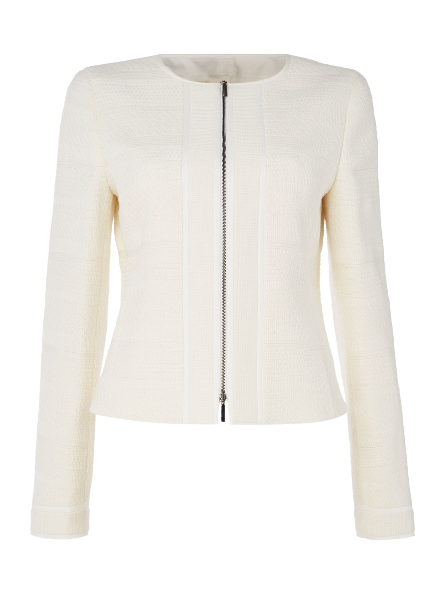Hugo Boss Longsleeve textured zip front jacket, White