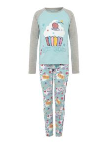 Little Dickins & Jones Girls Cupcake Print Pjyama Set