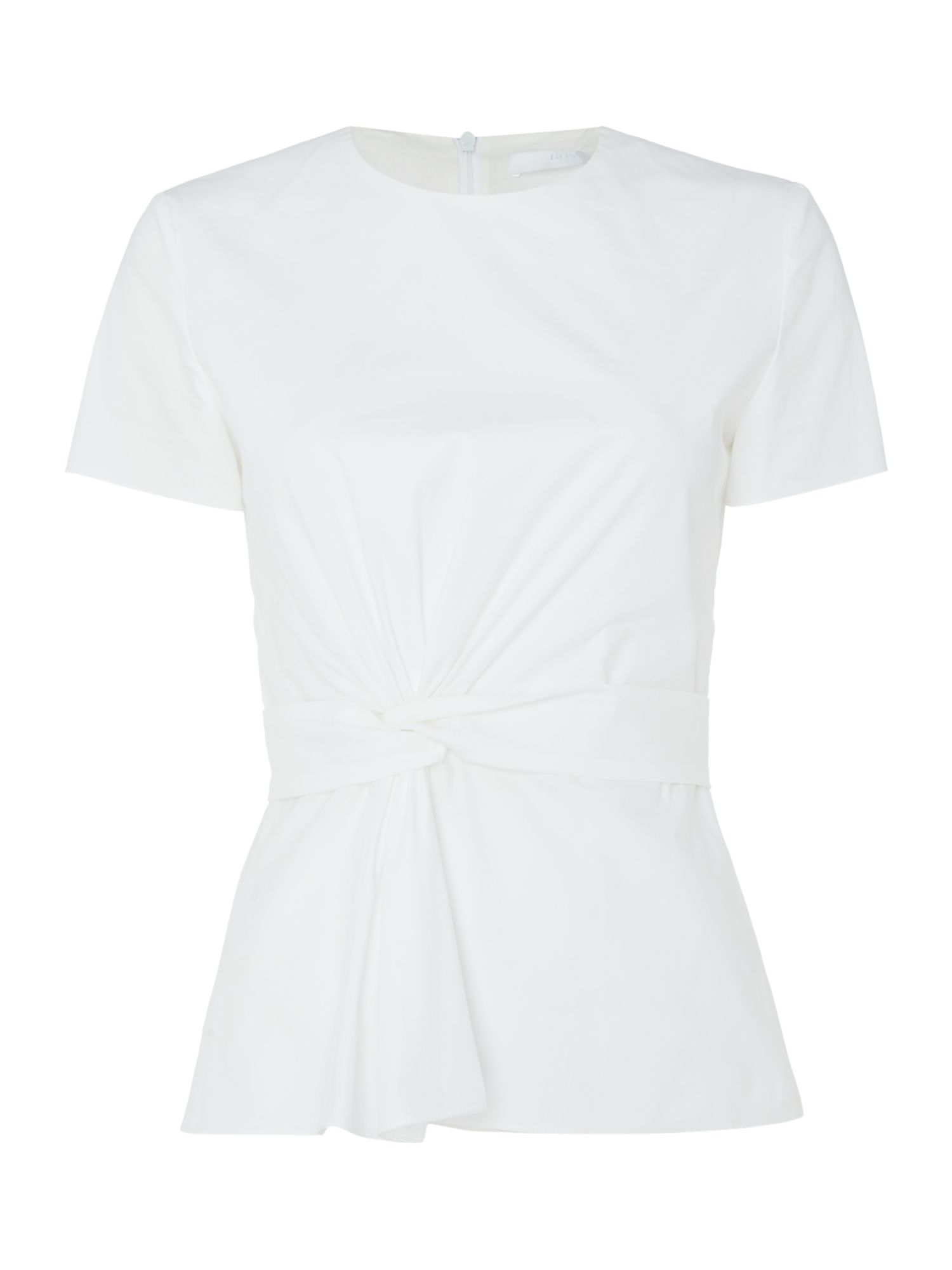 Hugo Boss Shortsleeve woven top with twist detail, White