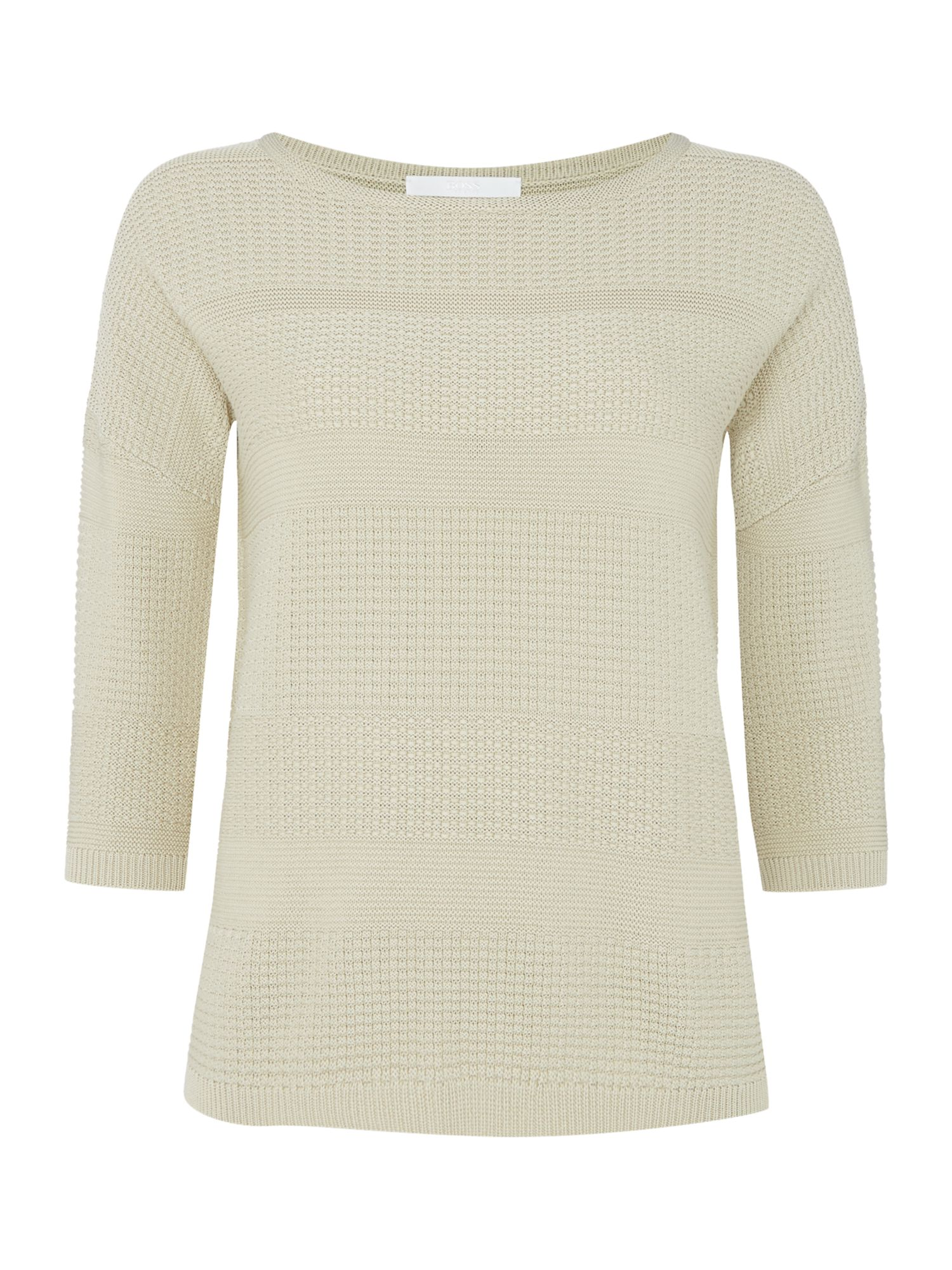 Hugo Boss 34 sleeve jumper with textured bodice Beige