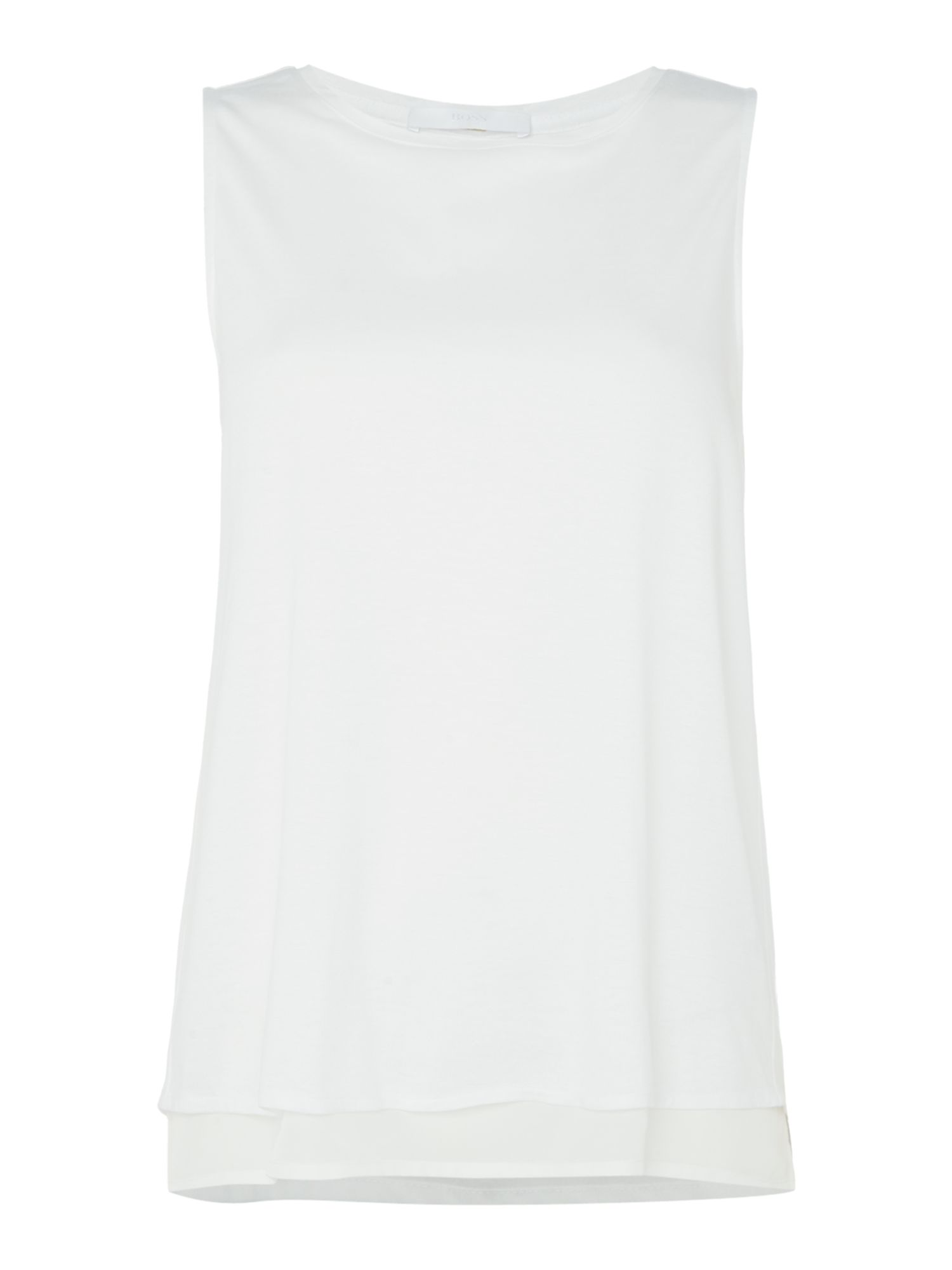 Hugo Boss Sleeveless open pannel back jersey top, White
