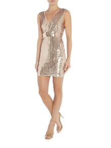 tfnc Sleeveless V Neck Full Sequin Bodycon Dress