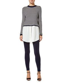Lauren Ralph Lauren Salcorta cropped jumper with woven layer