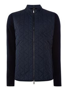 Hugo Boss Irwing regular fit zip-up quilted chest cardigan