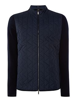 Irwing regular fit zip-up quilted chest cardigan