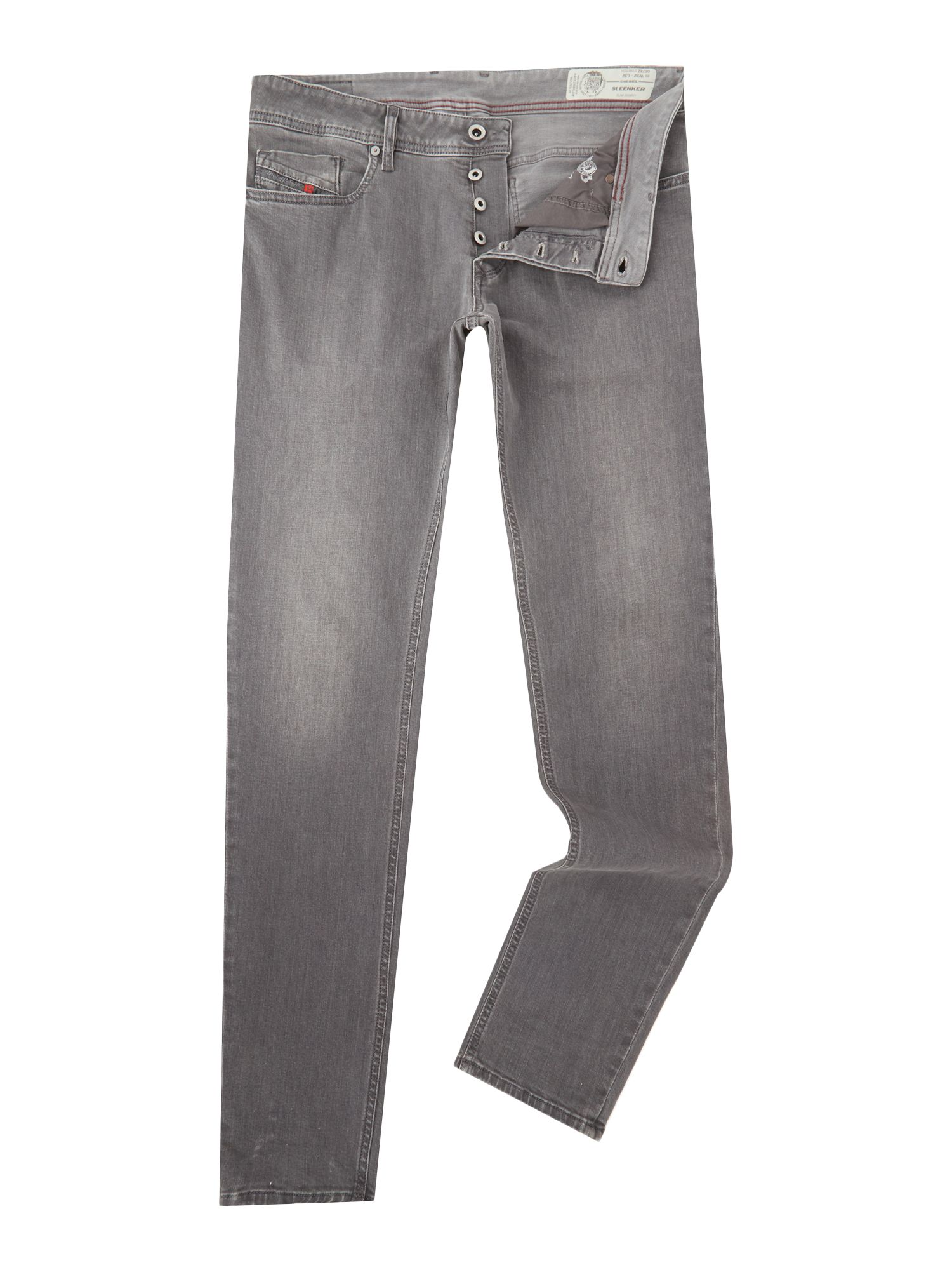 Mens Sleenker 678z Skinny Stretch Light Grey Jeans, Light Grey