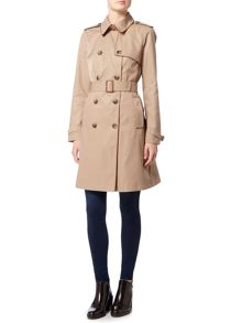 Lauren Ralph Lauren Skirted trench coat with faux leather piping