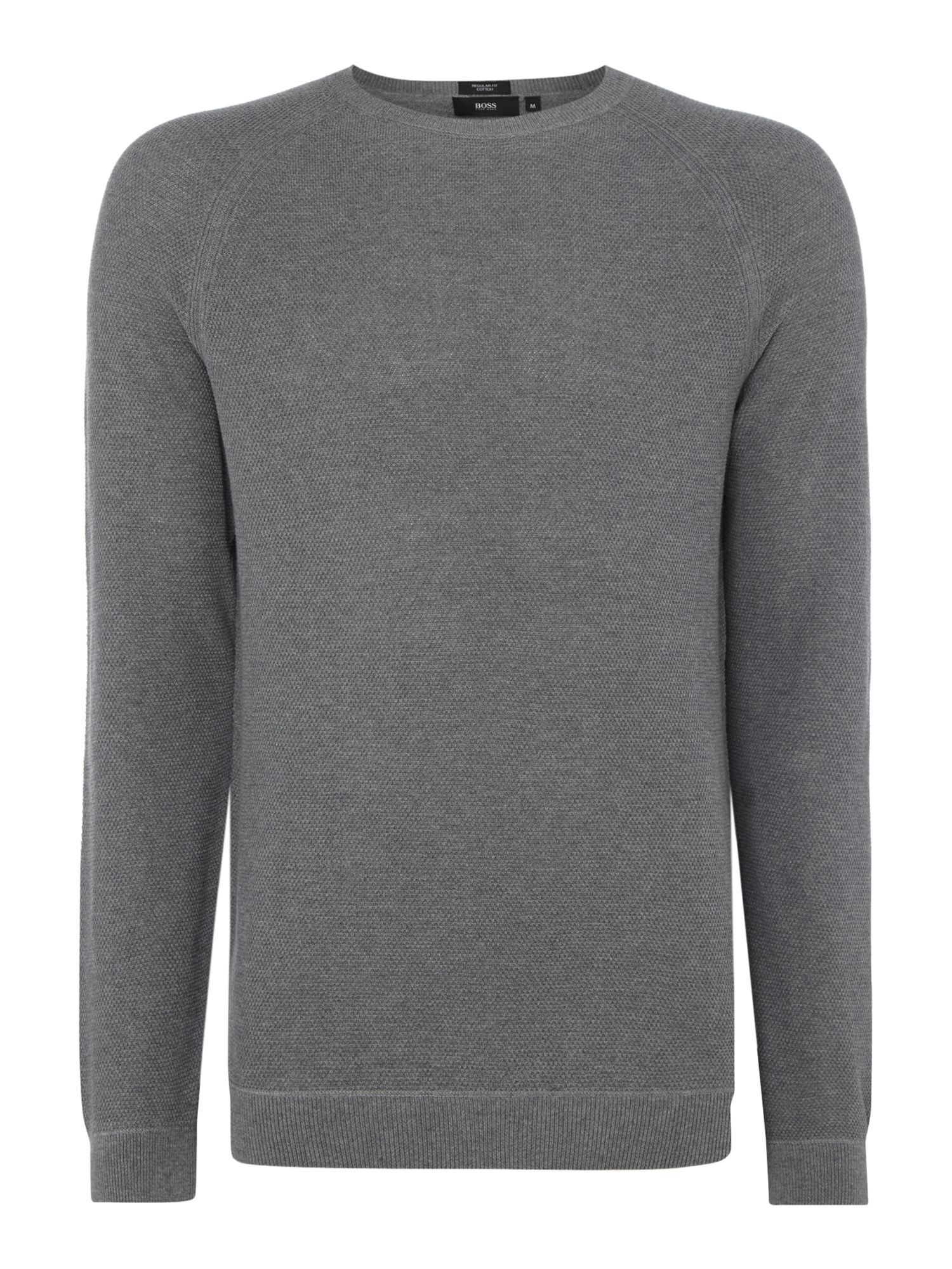 Mens Hugo Boss Ilian regular fit knitted crew neck jumper Grey