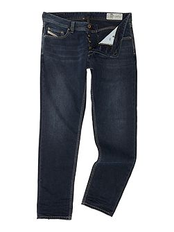 Larkee-beex stretch distressed tapered jeans