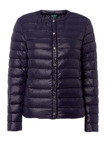 Lauren Ralph Lauren Collarless quilted snap front jacket
