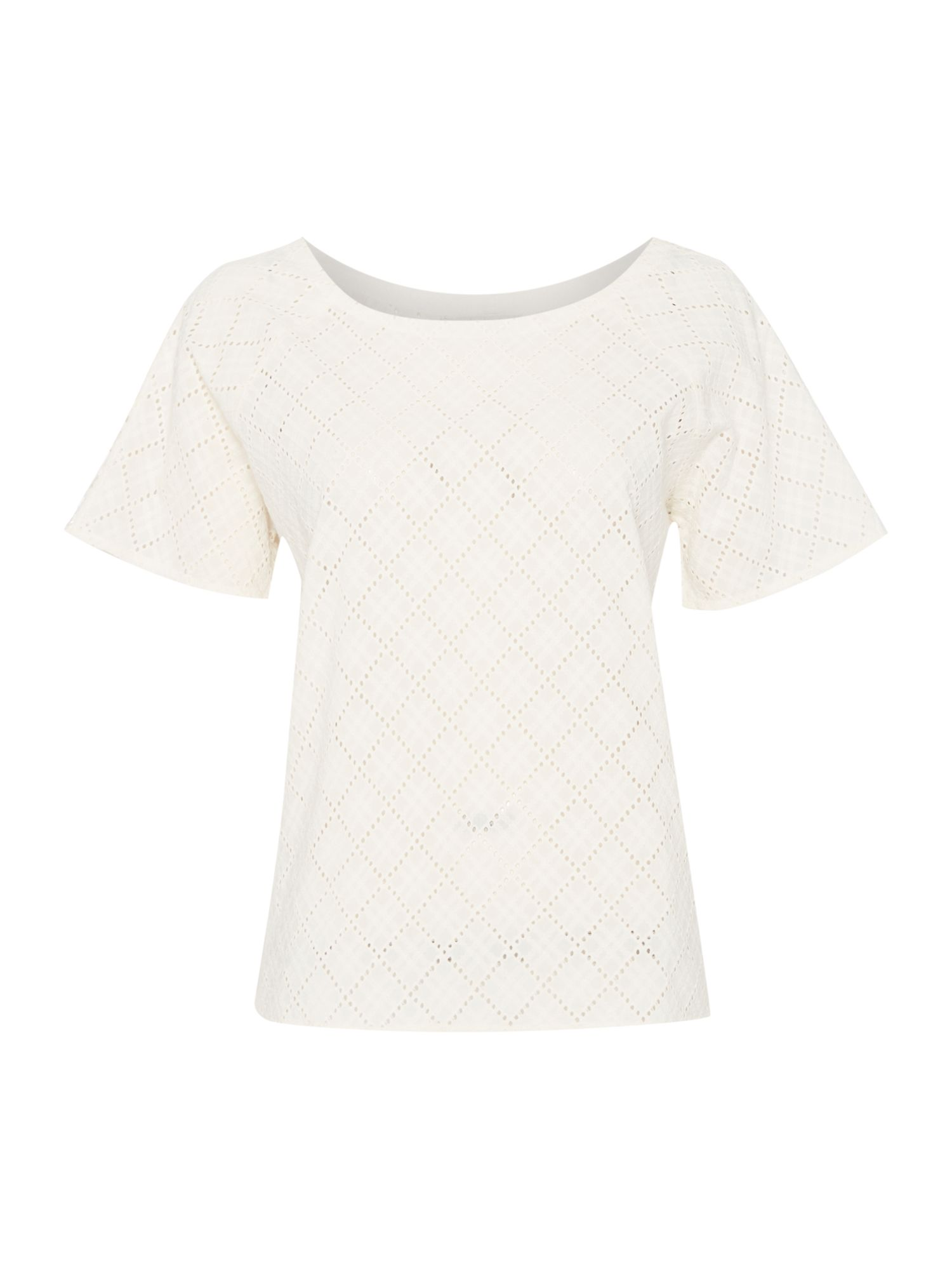 Maison De Nimes Beverly Broderie Woven Tee, Off White