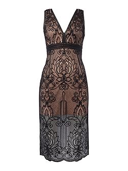 ornate sleeveless midi dress