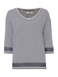 Dickins & Jones Stripe Top with Diamond Sleeve Detail