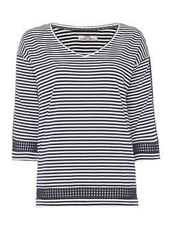 Stripe Top with Diamond Sleeve Detail