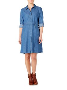 Dickins & Jones Mara Chambray Fit & Flare Dress