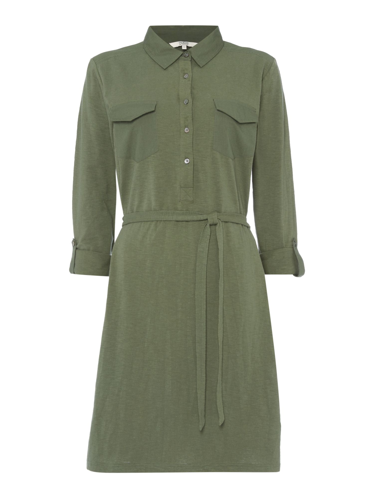 Dickins & Jones Freya Jersey Shirt Dress Khaki