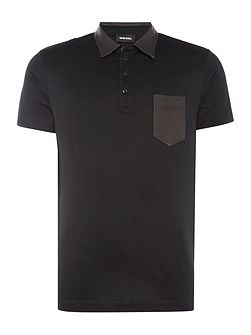 Regular fit suede collar and pocket polo shirt
