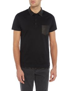 Diesel Regular fit suede collar and pocket polo shirt