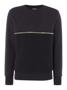 Diesel Zip detail crew neck sweatshirt