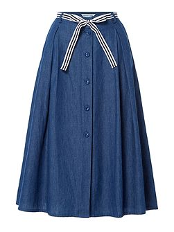 Harper Button Through Chambray Skirt