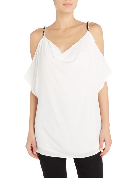 Michael Kors Sleeveless cowl neck embellished strap top
