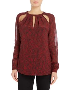 Michael Kors Long sleeve umbria slit detail blouse